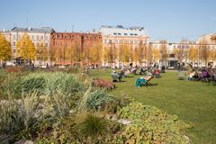 St.Petersburg, New Holland, recreation area. ST. PETERSBURG, RUSSIA - OCTOBER 16, 2018: New Holland recreation area in the city center. Focus on flower bed stock photos