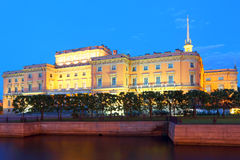 St Petersburg at night Engineering palace. Architectural sight of the historical center of St. Petersburg stock photos