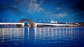 St. Petersburg, night landscape. View of the Foundry Bridge stock video