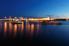 St. Petersburg By Night. Panorama of night city. View on the Neva river and the open bridge. Royalty Free Stock Photography