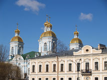 St. Petersburg. Nikolsky's domes of a sea cathedral Stock Photos