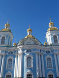 St. Petersburg. Nikolsky a sea cathedral against the sky Stock Photos