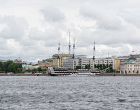 St. Petersburg. Old sailing ship moored at the Neva River Royalty Free Stock Photos