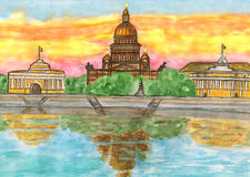 St. Petersburg, painting. Cathedral of St. Isaak in St. Petersburg, hand painted picture watercolours Stock Photo