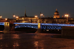 St. Petersburg Palace bridge. Night moon Admiralty, Neva illuminated bridge Royalty Free Stock Image