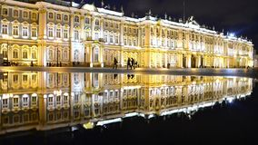 St Petersburg Palace Square Hermitage In Reflection stock video footage
