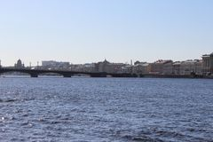 St. Petersburg panorama of the city with a bridge and buildings royalty free stock photos