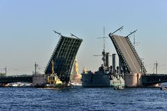 St. Petersburg. Passage of cruiser Stock Photography