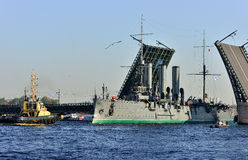 St. Petersburg. Passage of cruiser Royalty Free Stock Images