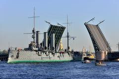 St. Petersburg. Passage of cruiser Royalty Free Stock Image