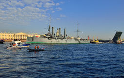 St. Petersburg. Passage of cruiser Royalty Free Stock Photography