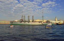 St. Petersburg. Passage of cruiser Royalty Free Stock Photos