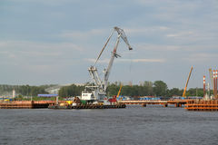 St. Petersburg. The portal crane on construction of the mooring Stock Image