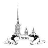 St. Petersburg punkt zwrotny, Rosja. Podróż punktu zwrotnego etykietka ilustracji