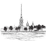 St. Petersburg punkt zwrotny, Rosja. Podróż punktu zwrotnego ilustracja royalty ilustracja