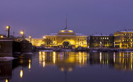 St. Petersburg, quay of Neva at night Stock Photos