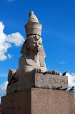 St. Petersburg Quay with Sphinxes. St. Petersburg Quay with Sphinxes, close up against the blue sky Stock Photos