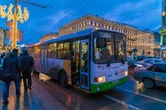 ST PETERSBURG, RÚSSIA - 25 DE DEZEMBRO DE 2016: Os turistas usam Imagem de Stock Royalty Free