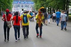 ST PETERSBURG, RÚSSIA - 15 DE JUNHO DE 2018: Fan de futebol antes do fósforo Marrocos - Irã no campeonato do mundo 2018 de FIFA e Imagens de Stock Royalty Free