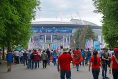 ST PETERSBURG, RÚSSIA - 15 DE JUNHO DE 2018: Fan de futebol antes do fósforo Marrocos - Irã no campeonato do mundo 2018 de FIFA e Foto de Stock