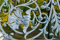 St Petersburg, Rússia Elemento do metal da arquitetura no formulário da flor na cerca do jardim de Michael em St Petersburg Foto de Stock
