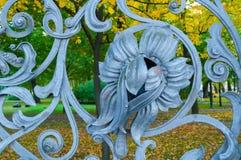 St Petersburg, Rússia Elemento do metal da arquitetura no formulário da flor na cerca do jardim de Michael em St Petersburg Imagem de Stock