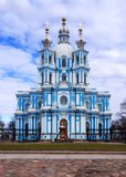 St Petersburg, R?ssia, 2019-04-13: Catedral de Smolny imagens de stock royalty free