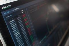 ST PETERSBURG, R?SSIA - 11 DE ABRIL DE 2019: Bitstamp - troca para a troca do cryptocurrency imagens de stock