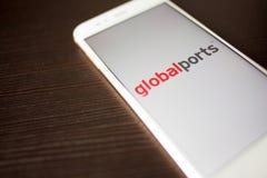 ST PETERSBURG, R?SSIA - 14 DE MAIO DE 2019: Logotipo dos portos globais da empresa do russo na tela do smartphone imagem de stock