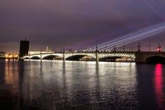 St. petersburg rinity Bridge. White nights in Petersburg stock photo