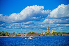 A view of the river Neva and the Peter and Paul fortress. St.Petersburg river Neva in day a view of the river Neva and the Peter and Paul fortress Royalty Free Stock Images