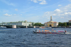 St. Petersburg. The river ship floats across Neva Royalty Free Stock Photo