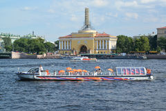 St. Petersburg. The river ship floats across Neva Stock Photos