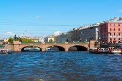 St Petersburg Rosja, Czerwiec, - 04 2017 Anichkov most na Fontanka rzece Obrazy Stock