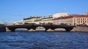 St Petersburg Rosja, Czerwiec, - 04 2017 Belinsky most na Fontanka rzece Obraz Royalty Free