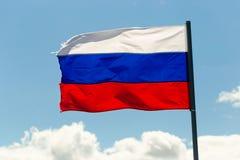 St Petersburg Rosja, Czerwiec, - 28, 2017: Flaga Rosja w wiatrze w St Petersburg Zdjęcie Stock