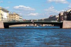 St Petersburg Rosja, Czerwiec, - 04 2017 Leshtukov most na Fontanka rzece Zdjęcia Stock