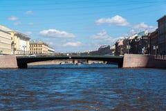 St Petersburg Rosja, Czerwiec, - 04 2017 Leuchkows most na Fontanka rzece Zdjęcia Royalty Free
