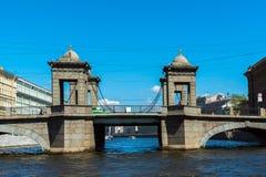 St Petersburg Rosja, Czerwiec, - 04 2017 Lomonosov most na Fontanka rzece Obrazy Stock