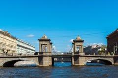 St Petersburg Rosja, Czerwiec, - 04 2017 Lomonosov most na Fontanka rzece Obraz Stock