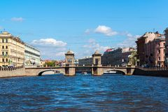 St Petersburg Rosja, Czerwiec, - 04 2017 Lomonosov most na Fontanka rzece Zdjęcie Royalty Free