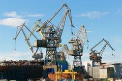 St Petersburg, Rosja - 28 2017 Czerwiec: portowi żurawie działają dalej Neva rzekę w St Petersburg Obraz Stock