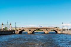 St Petersburg Rosja, Czerwiec, - 04 2017 Pralnia most na Fontanka rzece Zdjęcia Royalty Free