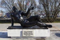 ST PETERSBURG ROSJA, KWIECIEŃ, - 27, 2015: Fotografia zabijać w wojnie z Finlandia w 1939-1940 pogrzeb Obraz Stock