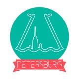 St Petersburg, Rosja linii ikona Z podpisem na Tasiemkowym sztandarze - St Petersburg emblemat, punkt zwrotny, Wektorowy symbol n ilustracja wektor