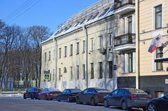 St Petersburg, Rosja, Luty, 27, 2018 Dom E A Alekseeva 1790-1799 rok budował na Gangutskaya ulicie w Skt Petersbur Zdjęcie Royalty Free