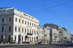 St Petersburg, Rosja, Luty, 27, 2018 Dom N A Stroganov - budynek volga banka Nevsky perspektywa 1881 Zdjęcia Royalty Free