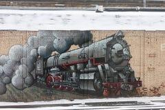 ST PETERSBURG ROSJA, LUTY, - 24: graffiti ROSJA, LUTY na ścianie o Fińskiej staci, - 24 2017 Obraz Stock