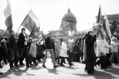 St Petersburg Rosja, Maj, - 1, 2015: Maja dnia demonstracj polityk Zdjęcie Stock