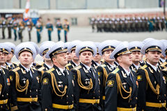 ST. PETERSBURG ROSJA, MAJ, - 9: Militarna zwycięstwo parada wydaje każdego roku na Maju 9 na pałac Squar (zwycięstwo w drugiej woj Obrazy Royalty Free